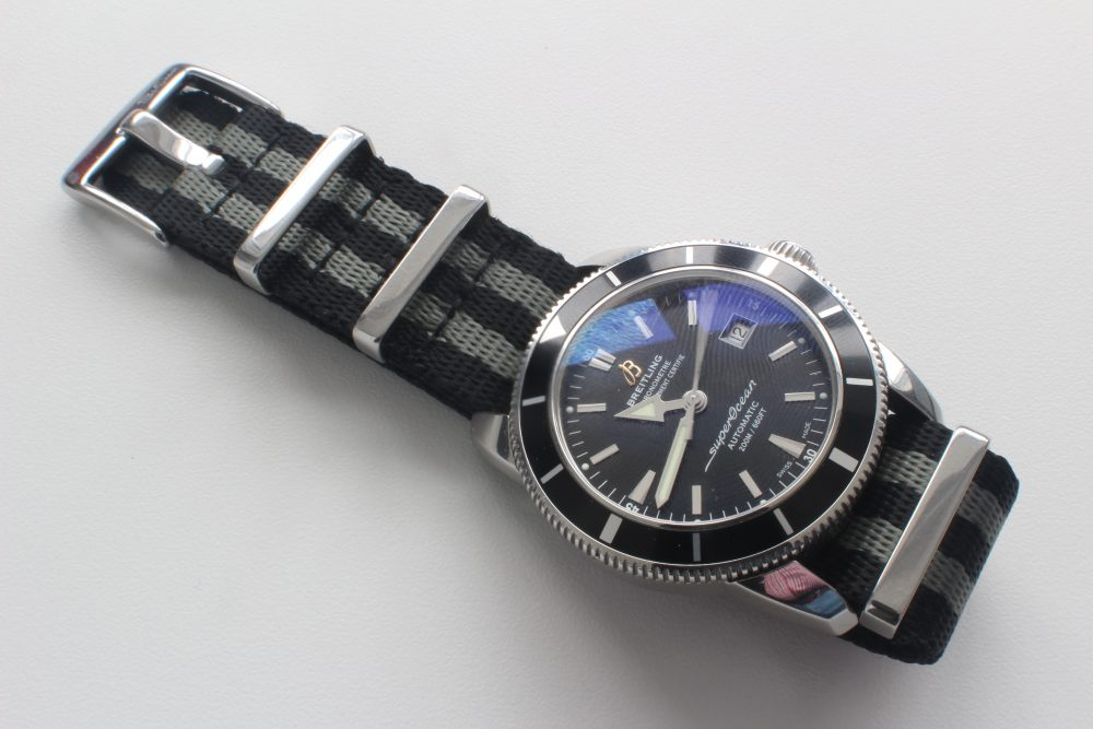 BluShark Bond NATO on Breitling Superocean Heritage